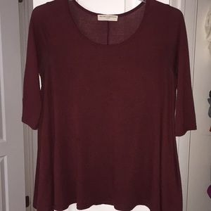 1/2 sleeve burgundy sweater
